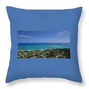 Blue Lanikai Overview Throw Pillow by Sean Davey