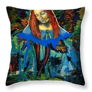 Blue Madonna In Tree Throw Pillow by Genevieve Esson