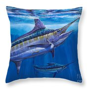 Blue Marlin Bite Off001 Throw Pillow by Carey Chen