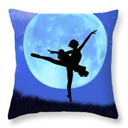 Blue Moon Ballerina Throw Pillow by Alixandra Mullins