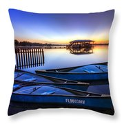 Blue Morning Throw Pillow by Debra and Dave Vanderlaan