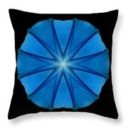 Blue Morning Glory Flower Mandala Throw Pillow by David J Bookbinder