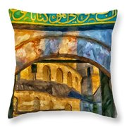 Blue Mosque Painting Throw Pillow by Antony McAulay