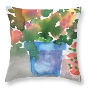 Blue Pot Of Flowers Throw Pillow by Linda Woods
