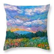Blue Ridge Wildflowers Throw Pillow by Kendall Kessler