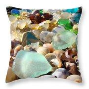Blue Seaglass Beach Art Prints Shells Agates Throw Pillow by Baslee Troutman