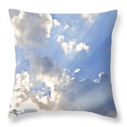 Blue Sky With Sun Rays Throw Pillow by Elena Elisseeva