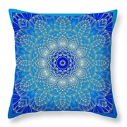 Blue Space Flower Throw Pillow by Hanza Turgul
