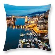 Blue Vancouver Morning Throw Pillow by James Wheeler