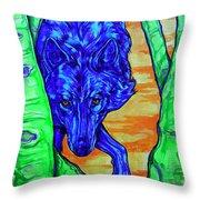 Blue Wolf Throw Pillow by Derrick Higgins