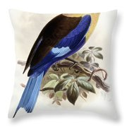 Bluebellied Roller Throw Pillow by Johan Gerard Keulemans