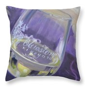 Bluestone Vineyard Wineglass Throw Pillow by Donna Tuten