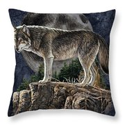 Bm Wolf Moon Throw Pillow by JQ Licensing