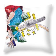 Bmx Drawing Peg Grind Throw Pillow by Mike Jory