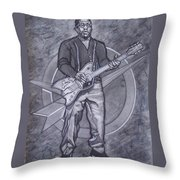 Bo Diddley - Have Guitar Will Travel Throw Pillow by Sean Connolly