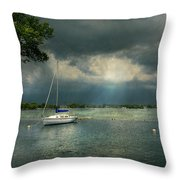 Boat - Canandaigua Ny - Tranquility Before The Storm Throw Pillow by Mike Savad