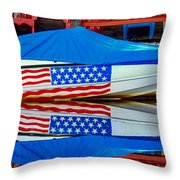 Boat For Freedom  Throw Pillow by Debra Forand