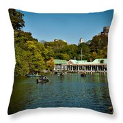 Boat House Central Park New York Throw Pillow by Amy Cicconi