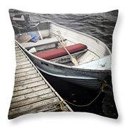 Boat In Fog Throw Pillow by Elena Elisseeva