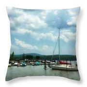 Boat - Sailboat At Dock Cold Springs Ny Throw Pillow by Susan Savad