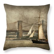Boat - Sailing - Govenors Island Ny - Clipper City Throw Pillow by Mike Savad