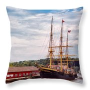 Boat - Sailors Delight Throw Pillow by Mike Savad
