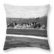 Boathouse Row Winter B/w Throw Pillow by Jennifer Ancker
