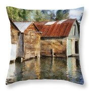 Boathouses On The Torch River Ll Throw Pillow by Michelle Calkins