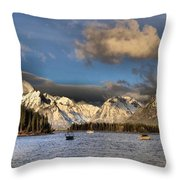 Boating In The Tetons Throw Pillow by Dan Sproul