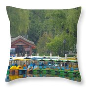 Boats In A Park, Beijing Throw Pillow by John Shaw