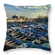 Boats In Essaouira Morocco Harbor Throw Pillow by David Smith