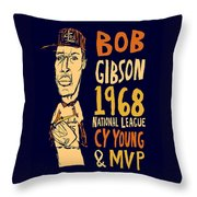 Bob Gibson St Louis Cardinals Throw Pillow by Jay Perkins