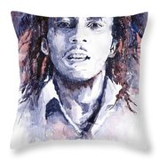 Bob Marley 3 Throw Pillow by Yuriy  Shevchuk