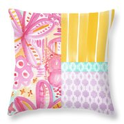 Boho Aztec Patchwork- Flower Painting Throw Pillow by Linda Woods