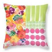 Boho Garden Patchwork- Floral Painting Throw Pillow by Linda Woods