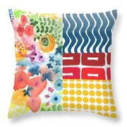 Bold Boho Patchwork- Abstract Art Throw Pillow by Linda Woods