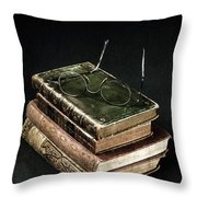 Books With Glasses Throw Pillow by Joana Kruse