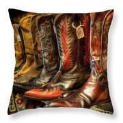 Boot Rack Throw Pillow by Michael Pickett