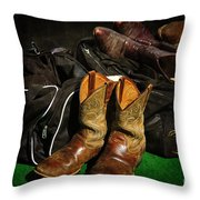 Boots And Bags Throw Pillow by Bob Hislop
