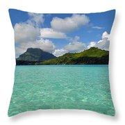 Bora Bora Green Water Throw Pillow by Eva Kaufman