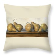 Bosc Pears Throw Pillow by Lucie Bilodeau