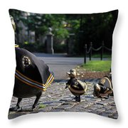 Boston Bruins Ducklings Throw Pillow by Juergen Roth