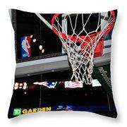 Boston Celtics' Basket Throw Pillow by Mike Martin