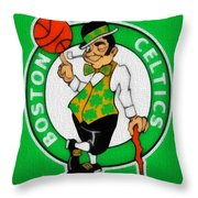 Boston Celtics Canvas Throw Pillow by Dan Sproul