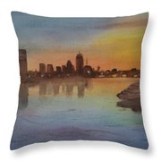 Boston Charles River At Sunset  Throw Pillow by Donna Walsh