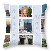 Boston Collage Throw Pillow by Barbara McDevitt
