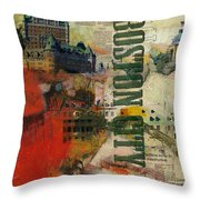 Boston Collage Throw Pillow by Corporate Art Task Force