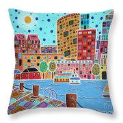 Boston Harbor Throw Pillow by Karla Gerard