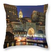 Boston Harbor Party Throw Pillow by Joann Vitali