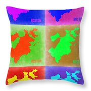 Boston Pop Art Map 3 Throw Pillow by Naxart Studio